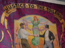 Justice to the Toilers banner at the People's History Museum, Manchester